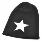 Five-Pointed Star Pattern Polyacrylonitrile Fiber Knitting Hat / Cap - White + Black (60cm)