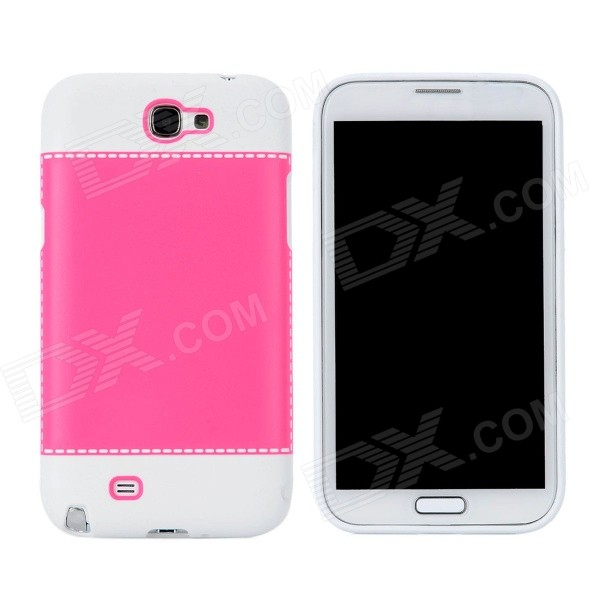 Fashion Protective Plastic + PVC Back Case for Samsung Galaxy Note 2 N7100 - White + Pink protective plastic back case for samsung galaxy note 2 n7100 translucent white