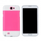 Fashion Protective Plastic + PVC Back Case for Samsung Galaxy Note 2 N7100 - White + Pink
