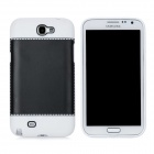 Fashion Protective Plastic + PVC Back Case for Samsung Galaxy Note 2 N7100 - Black + White
