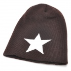 Five-Pointed Star Pattern Polyacrylonitrile Fiber Knitting Hat / Cap - White + Brown (60cm)