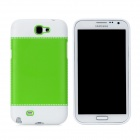 Fashion Protective PC + PVC Back Case for Samsung Galaxy Note 2 N7100 - White + Green