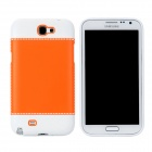 Fashion Protective PC + PVC Back Case for Samsung Galaxy Note 2 N7100 - White + Orange