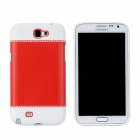 Fashion Protective PC + PVC Back Case for Samsung Galaxy Note 2 N7100 - White + Red