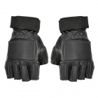 Stylish Half-Finger Leather Gloves - Black (Size M / Pair)