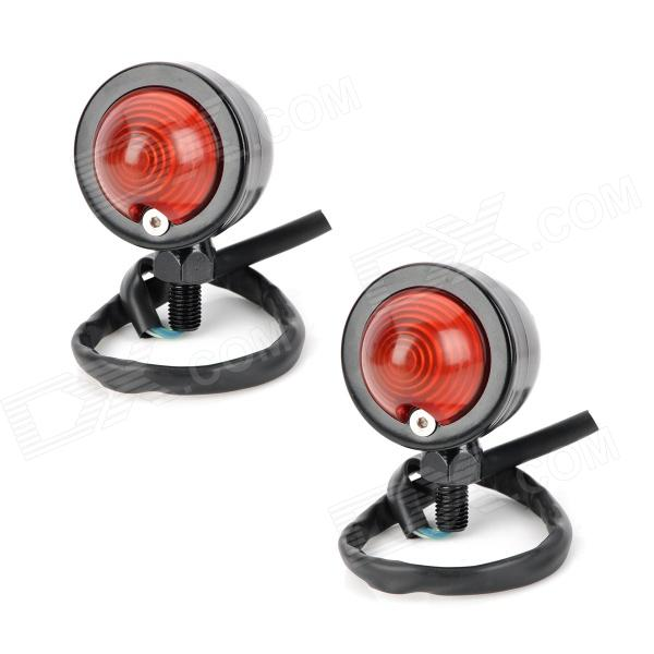 10W Yellow Light Retro Motorcycle Steering / Indicator Lamp - Black + Red (12V / 2 PCS)