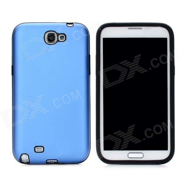 Stylish Protective Aluminum Cover Silicone Back Case for Samsung Galaxy Note 2 N7100 - Blue от DX.com INT