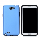 Stylish Protective Aluminum Cover Silicone Back Case for Samsung Galaxy Note 2 N7100 - Blue
