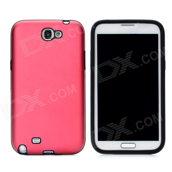 Stylish Protective Aluminum Cover Silicone Back Case for Samsung Galaxy Note 2 N7100 - Red от DX.com INT