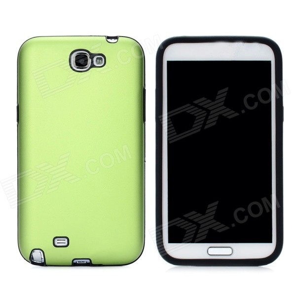 Stylish Protective Aluminum Cover Silicone Back Case for Samsung Galaxy Note 2 N7100 - Green от DX.com INT