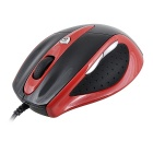 Aoni Wired 800 / 1600dpi USB Optical Mouse - Red + Black
