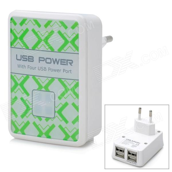 4-USB Ports AC Power Adapter for Iphone / Ipad + More - White (EU Plug / AC 100~240V) 10piece 100% new irf7403 if7403 7403 hexfet power mosfet sop 8 chipset
