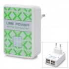 4-USB Ports AC Power Adapter für iPhone / iPad + More - Weiß (EU-Stecker / AC 100 ~ 240V)