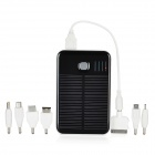 HD500 Solar Powered External 5000mAh Emergency Power Charger w/ 7 Adapters for Cell Phone - Black