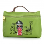 Cute Cartoon Pattern Nylon Zippered Cosmetic Handbag - Green (Size L)