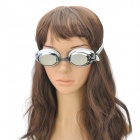 MYSTYLE Electroplate Anti-Fog Silicone PC Lens Swimming Goggles w/ Nose Bridges - Silver + Grey