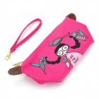 Cute Cartoon Mini Nylon Zippered Cosmetic Handbag - Deep Pink