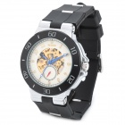 Men's Rubber Band Self-Winding Hollow-out Mechanical Wrist Watch - Black