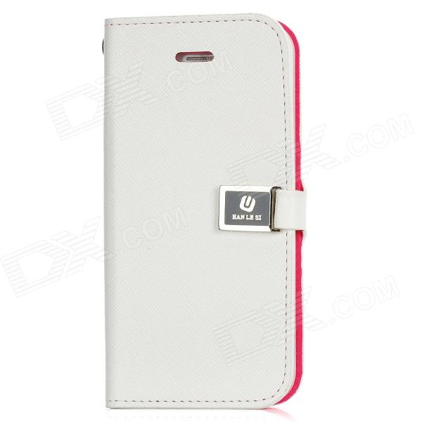 Protective Flip-Open PU Leather Case for Iphone 5 - White omo protective pu leather flip open case for iphone 4 4s white