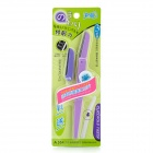 Portable Folding Eyebrow Reshape Knife - Purple + Silver