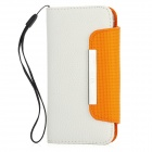 Protective Flip-Open PU Leather Case with Strap for Iphone 5 - White
