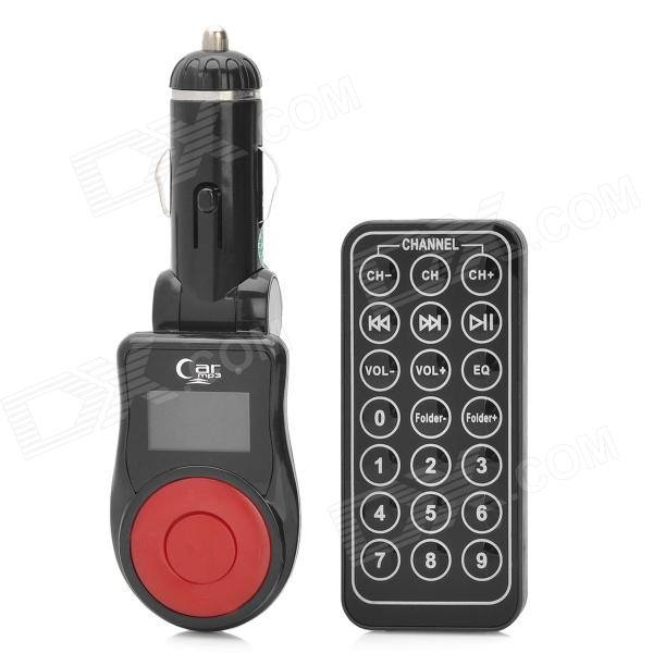 "FM103 1"" LCD Car MP3 Player FM Transmitter with Remote Controller - Black + Red (12V)"