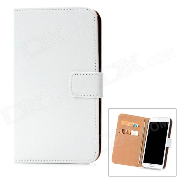 Fashion Protective Cow Leather Flip-Open Cover Hard Case w/ Card Slots for Samsung N7100 - White protective flip open pu case w stand card slots for samsung galaxy s4 active i9295 black