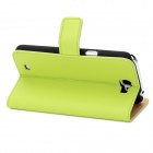 Fashion Protective Cow Leather Flip-Open Cover Hard Case w/ Card Slot for Samsung N7100 - Green