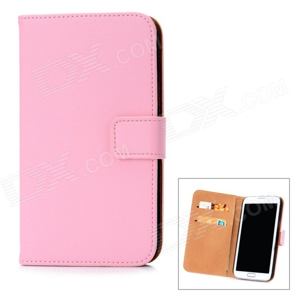 Fashion Protective Cow Leather Flip-Open Cover Hard Case w/ Card Slots for Samsung N7100 - Pink protective flip open pu case w stand card slots for samsung galaxy s4 active i9295 black