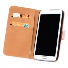Fashion Protective Cow Leather Flip-Open Cover Hard Case w/ Card Slots for Samsung N7100 - Pink