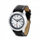 Casual Man's PU Band Quartz Analog Waterproof Wrist Watch w/ Week + Date Display - Black + White