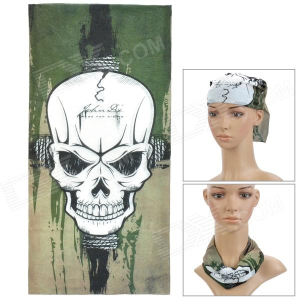 Skull Pattern Multi-Function Outdoor Sports Cycling Seamless Head Scarf - Green + White + Black protective outdoor war game military skull half face shield mask black