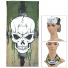 Skull Pattern Multi-Function Outdoor Sports Cycling Seamless Head Scarf - Green + White + Black