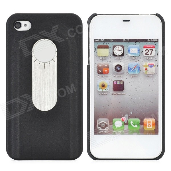 Protective Back Case w/ Opener + Direction Guider + Ruler + Screwdriver for Iphone 4 / 4S - Black stylish bubble pattern protective silicone abs back case front frame case for iphone 4 4s