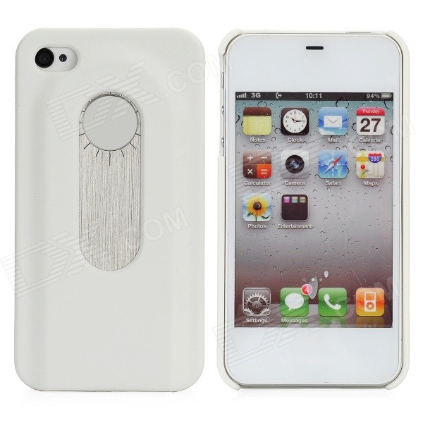 Protective Back Case w/ Opener + Direction Guider + Ruler + Screwdriver for Iphone 4 / 4S - White stylish bubble pattern protective silicone abs back case front frame case for iphone 4 4s