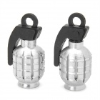 Universal Cool Grenade Shaped Motorcycle Tire Valve Caps - Silver (2 PCS)