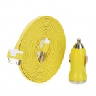 Flat USB Charging / Data Transmission Cable with Car Charger for iPad / iPod / iPhone - Yellow (3m)