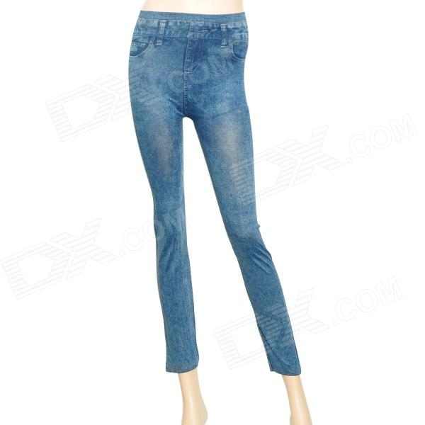 Classic Jeans Pattern Elastic Fabric Slim Tights Leggings Pants - Blue
