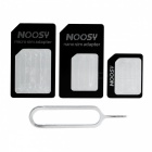iPhone 5 Nano SIM to Micro SIM + Nano SIM to SIM + Micro SIM to SIM Card Adapter Set - Black (3 PCS)