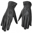 BHW 102 Fashion Genuine Leather + Plush Full Finger Warmer Gloves - Black (Pair / Size L)