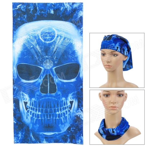 Skull Pattern Multi-Function Outdoor Sports Cycling Seamless Head Scarf - Deep Blue + Black  цена