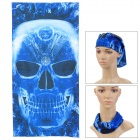 Skull Pattern Multi-Function Outdoor Sports Cycling Seamless Head Scarf - Deep Blue + Black
