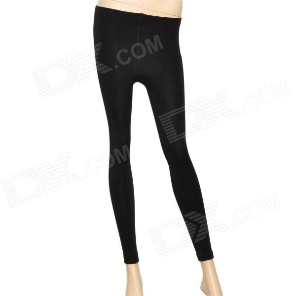 Fashion Bamboo Charcoal Fiber + Spandex + Wool Footless Warm Leggings - Black