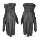 BHW106 Genuine Leather Keep Warm Full-Finger Gloves for Men - Black (XL)