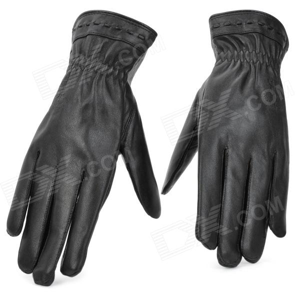 BHW 109 Fashion Wool Leather + Plush Lining Full Finger Warmer Gloves - Black (Pair / Size XXL)