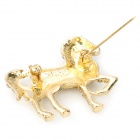 Fashion Shining Rhinestone Horse Style Brooch Pin - Golden