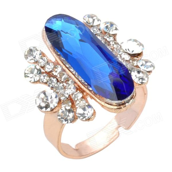 Elegant Rhinestone + Copper Aluminum Alloy Ring - Blue + Golden