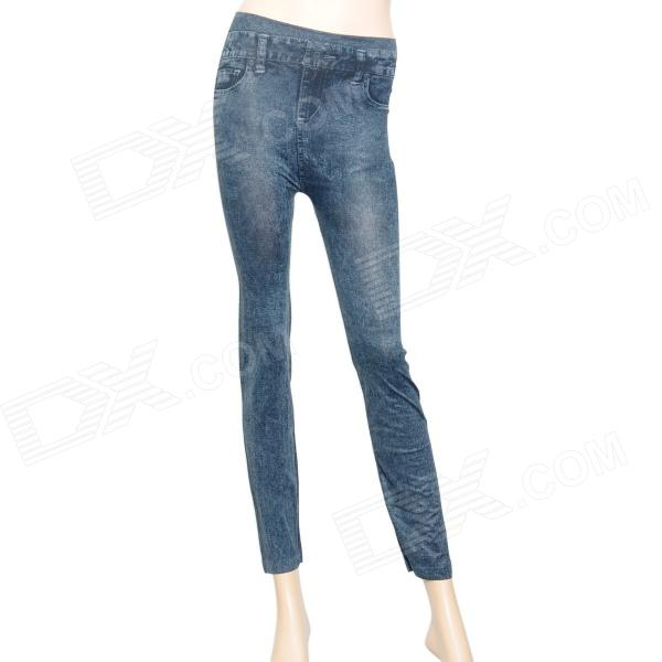 Classic Jeans Pattern Cotton + Elastic Fabric Slim Tights Leggings Pants - Black
