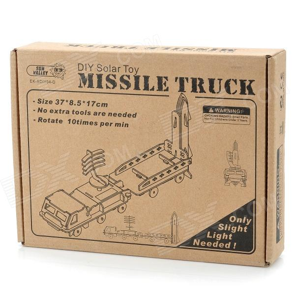 Diy solar powered missile truck wooden kid's puzzle toy - beige...