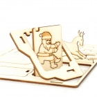 DIY Solar Powered Merry Christmas Theme Park Wooden Kid's Puzzle Toy - Beige